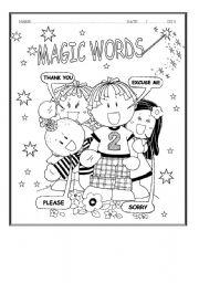 English Worksheets: Magic Words