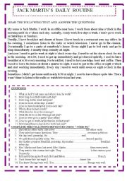 English Worksheets: Jack Martin�s daily routine