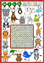 English Worksheet: Wild animals - WORDSEARCH (B&W included)