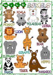 English Worksheet: Wild animals - POSTER
