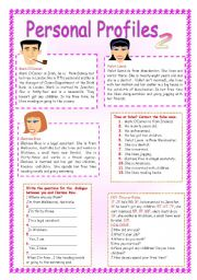 English Worksheet: PERSONAL PROFILES 2.