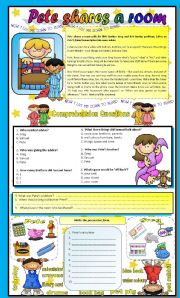 English Worksheets: Reading Comprehension - Pete Shares a Room!