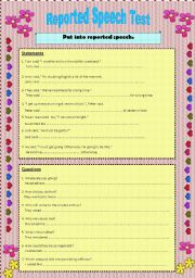 English Worksheets: Reported Speech: statements, questions and commands.