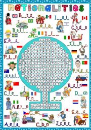 English Worksheet: Nationalities - WORDSEARCH