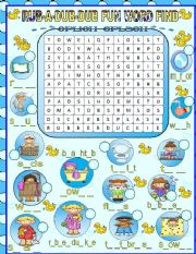 English Worksheets: BATHTIME WORD FIND