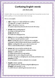 English Worksheets: Confusing words - 16 pairs (with exercise and answer keys)