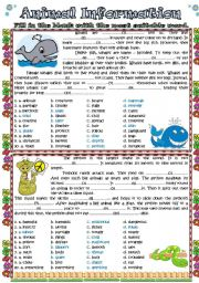 English Worksheets: Animal Information (answers included)