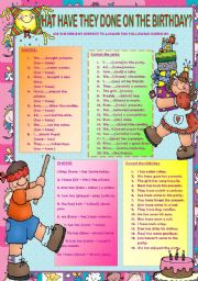 English Worksheets: WHAT HAVE THEY DONE ON THE BIRTHDAY?