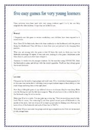 English Worksheets: five easy games for very young learners