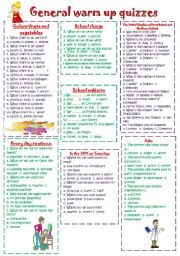 English Worksheet: General QUIZZES for warm up