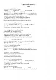 Simple Past - Set fire to the rain (Adele) - ESL worksheet