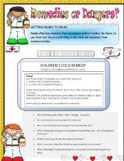 English Worksheet: Remedies or Danger? Reading Comprehension