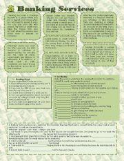 English Worksheet: Banking Services