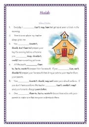 English Worksheet: Modals- School Rules and Traffic Rules