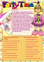 English Worksheet: PARTY TIME