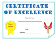 certificate of excellence