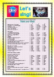 English Worksheet: > Glee Series: Season 2! > Songs For Class! S02E16 *.* Three Songs *.* Fully Editable With Key! *.* Part 3/3