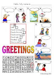 English Worksheets: Greetings: colour and grayscale.