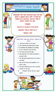 English Worksheet: Surfing with Subjects and verbs!