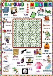 English Worksheets: Compound nouns - WORDSEARCH (B&W included)