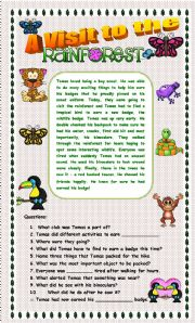 English Worksheet: Comprehension - A Visit to the Rainforest