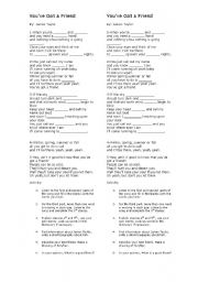 English Worksheet: You´ve got a Friend-by James Taylor-Song