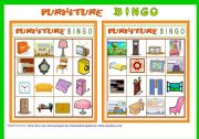English Worksheet: FURNITURE BINGO Game # 10 cards # Vocabulary ist # Bingo Instructions #  fully editable