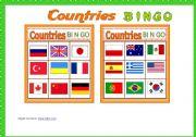 English Worksheet: Contries BINGO Game # 10 cards # Vocabulary list # Bingo Instructions # B/W Bingo # fully editable