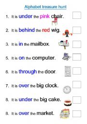 English worksheet: Alphabet treasure hunt
