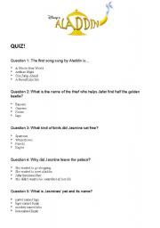 English worksheet: Aladdin Quiz