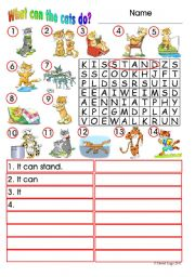 English Worksheet: What can the cats do?: colour and grayscale with answer keys