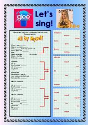 English Worksheet: > Glee Series: Season 2! > SONGS FOR CLASS! S02E17 *.* FOUR SONGS *.* FULLY EDITABLE WITH KEY!