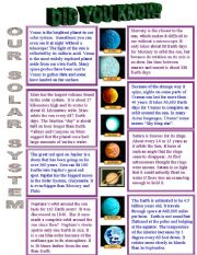planets comprehension worksheets - photo #24