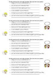 English Worksheet: Modals and Expressions Activity: Can, Could, May, Might, Would you mind, Is it OK if I...