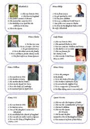 English Worksheet: Game cards 1: The Royal Family