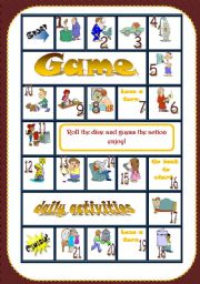 English Worksheets: DAILY ACTIVITIES GAME /editable