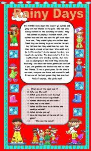 English Worksheets: Comprehension - Rainy Days