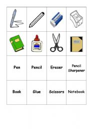ESL Worksheets for adults: School Objects Memory Game