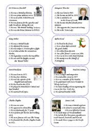 English Worksheet: Game Cards 2: 16 Famous British People