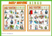 English Worksheet: DAILY ROUTINE BINGO Game # 10 cards # List of Vocabulary # Instructions # fully editable