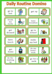 English Worksheets: DAILY ROUTINE DOMINO Game # Instructions # Fully editable