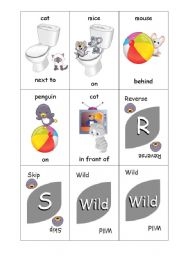 English Worksheet: Preposition Uno Card Game - Animals and Positions - Set 1 of 4
