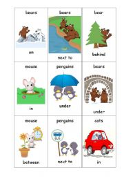 English Worksheet: Preposition Uno Card Game - Animals and Positions - Set 3 of 4