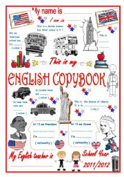 English Worksheet: COPYBOOK COVER
