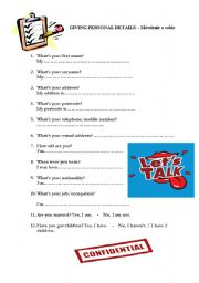 English Worksheets: Personal detials - questionnaire