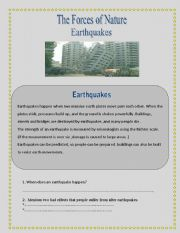 English Worksheet: Earthquakes