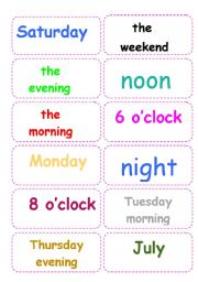 English Worksheet: Prepositions of time -GAME- FULLY EDITABLE- (includes B&W version and instructions)