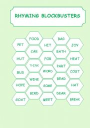 English Worksheet: RHYMING BLOCKBUSTERS