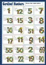 English Worksheet: CARDINAL NUMBERS - MULTIPLE CHOICE