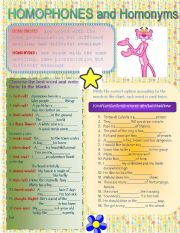 English Worksheets: HOMOPHONES & HOMONYMS(B&W INCLUDED)
